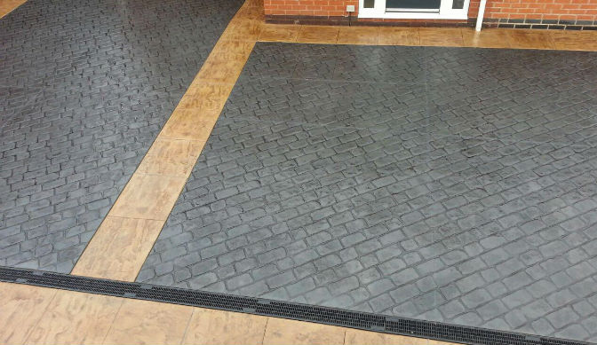 Pattern Imprinted Concrete Driveway with edging